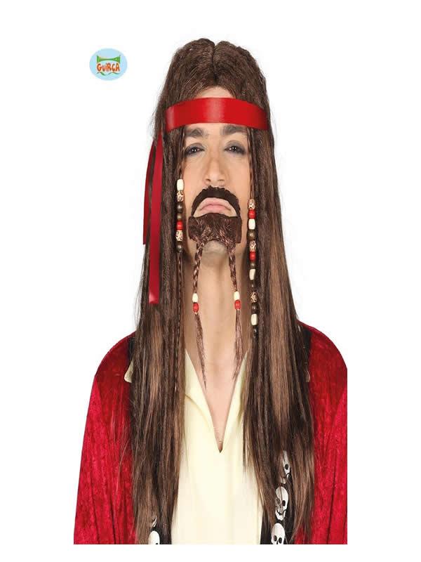 peluca de pirata castaña rastas y con perilla adulto