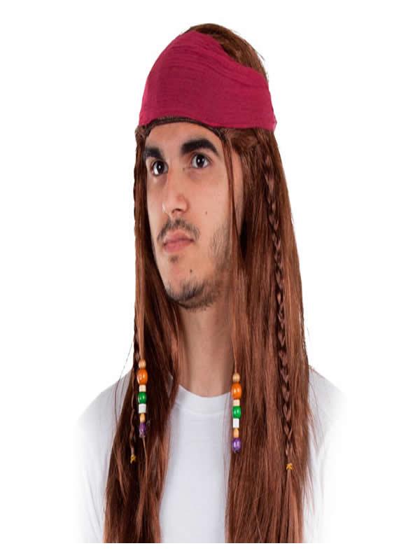 peluca de pirata larga con pañuelo
