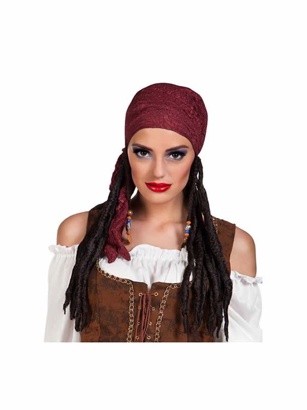 peluca de pirata rastas con pañuelo