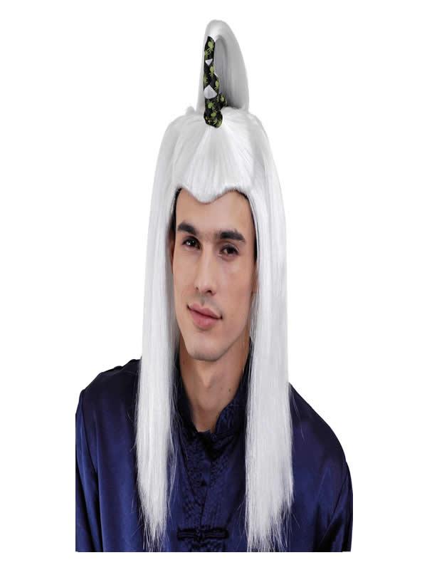 peluca de samurai larga blanca adulto