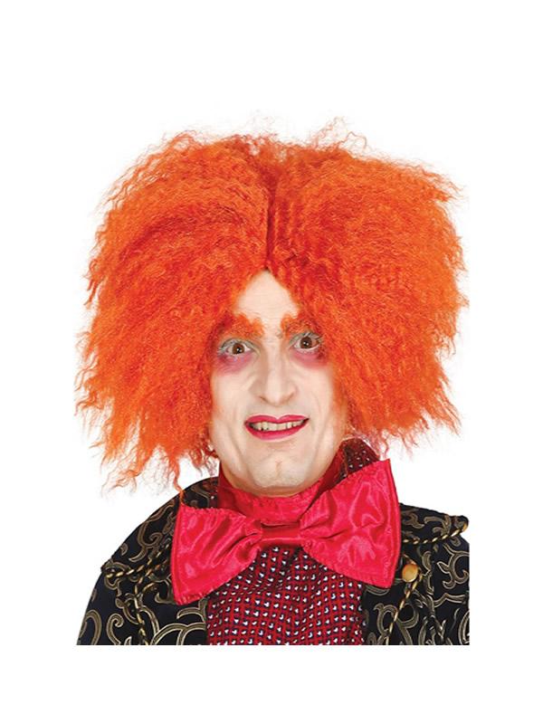 peluca de sombrerero naranja