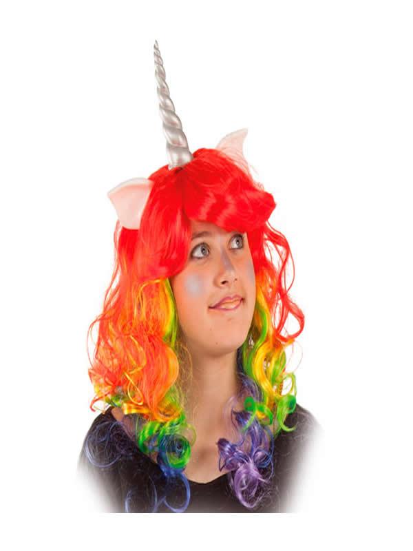 peluca de unicornio arcoiris