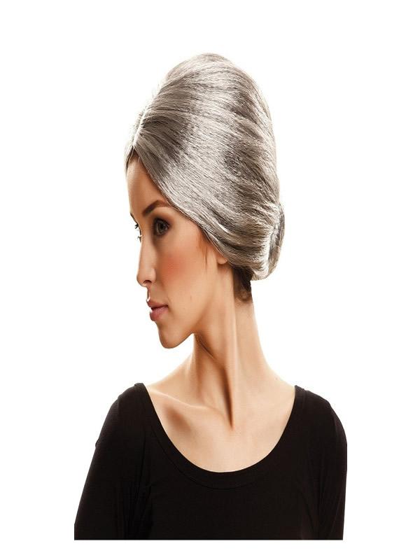 peluca gris de abuela con moño