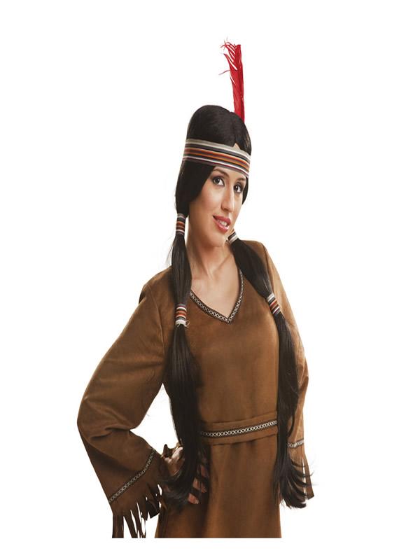 peluca larga con coletas de indio o india