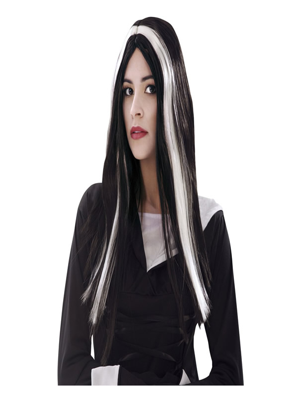 peluca larga de bruja negra y blanca