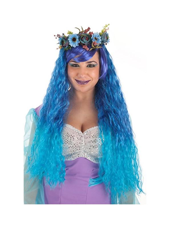 peluca larga de sirena azul rizada