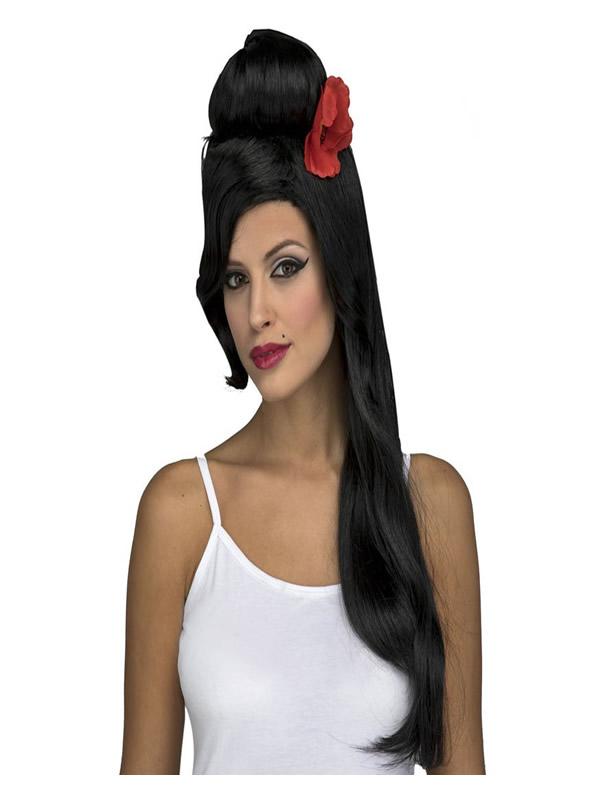 peluca larga rockera negra con flor