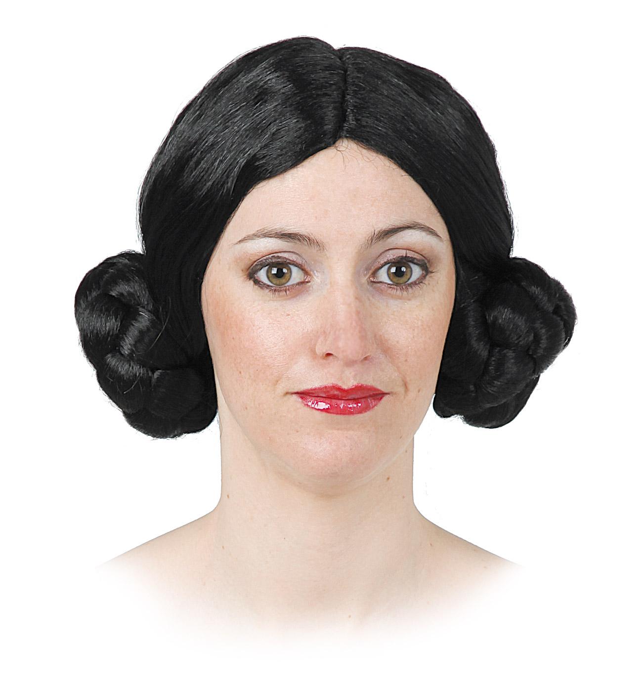 peluca leila de trenzas con moño varios colores