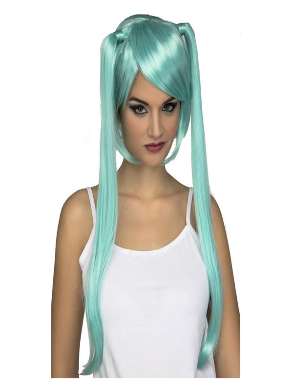 peluca manga azul con coletas largas