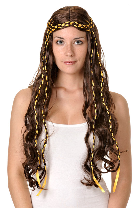 peluca melena larga ondas con trenzas rubias varios colores