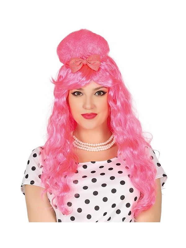 peluca melena rosa con lazo