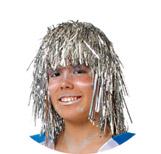 peluca metalizada galactica con tiras de papel varios colores