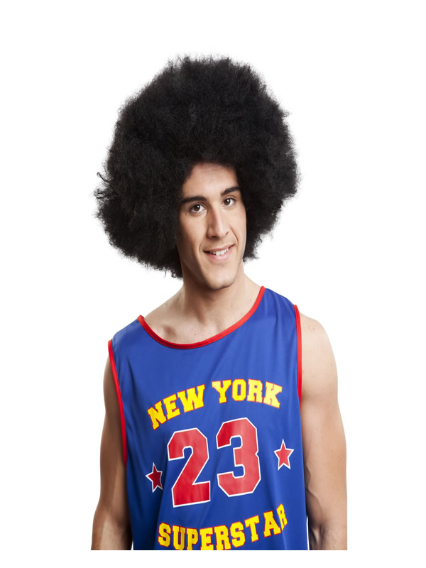 peluca negra afro extra xxl