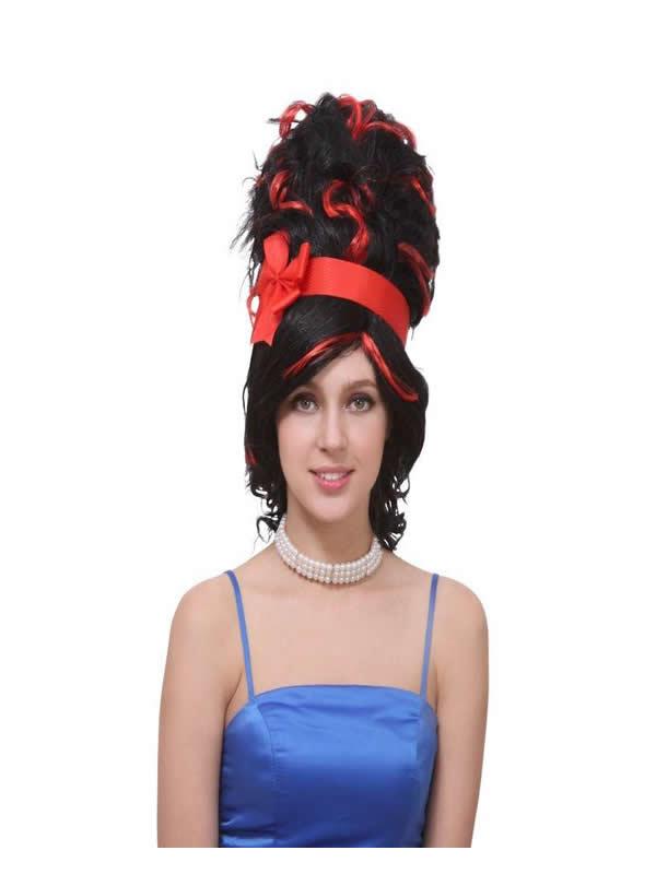 peluca negra con moñno y cinta roja