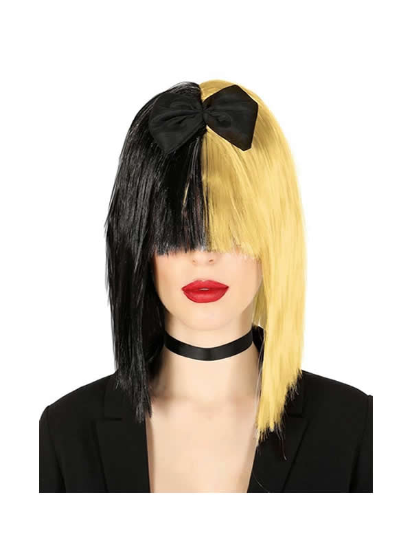 peluca negra y rubia cantante pop