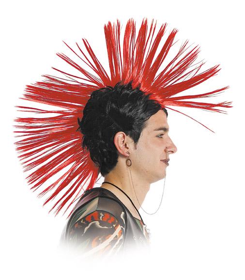 peluca punky cresta con puntas rojas