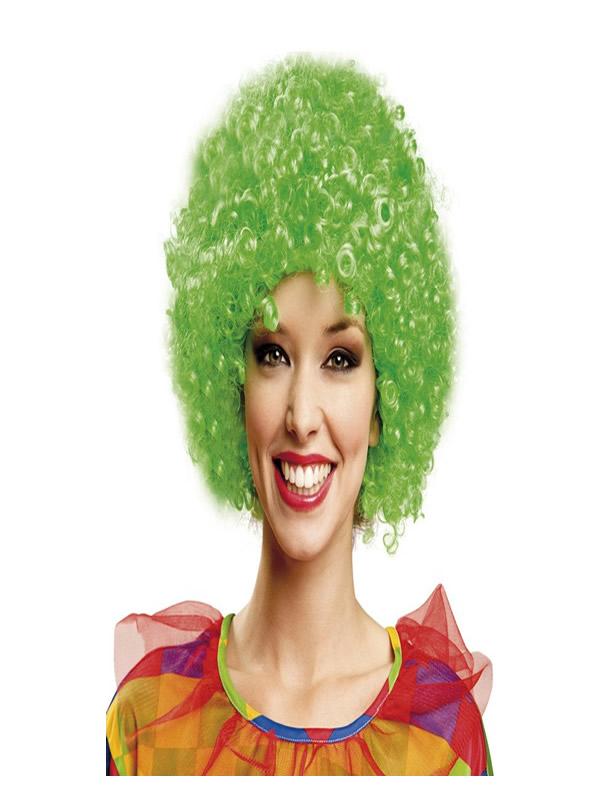 peluca rizada de payaso verde