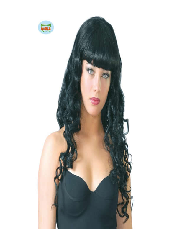 peluca rizos negra con flequillo