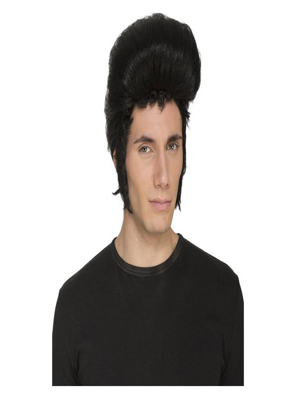 peluca rockera negra de elvis con tupe