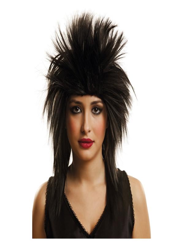 peluca rockera negra corta