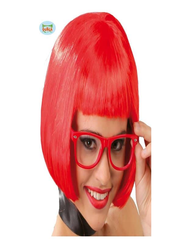 peluca roja media melena adulto