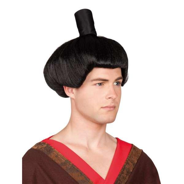 peluca samurai con moño negra