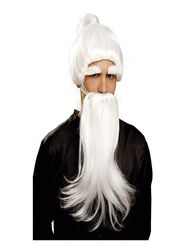 peluca y barba de fu man chu blanca