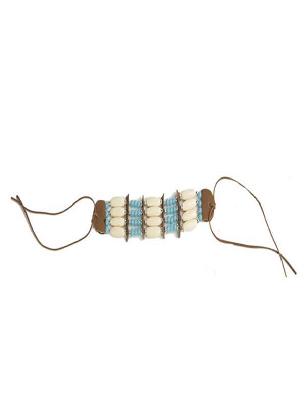 pulsera de indio con adornos azules y blancos