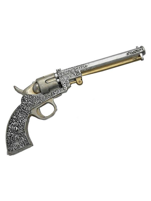 revolver steampunk plateado de foam 39x5 cm