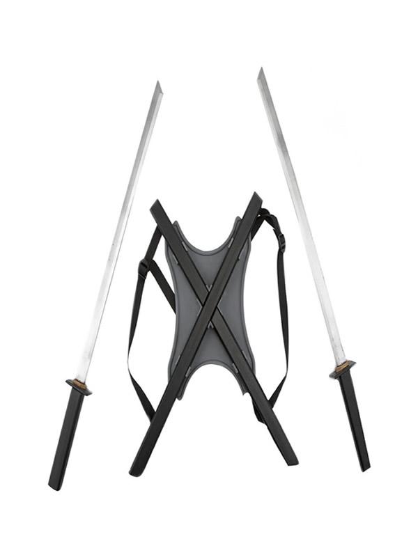 sable doble ninja con fundas para la espalda
