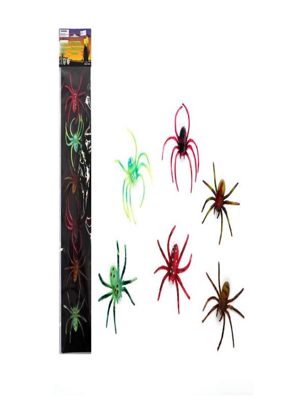 set arañas color 6 unidades halloween