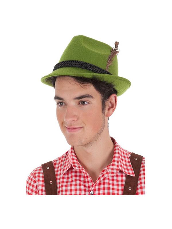 sombrero bavaro con cordon negro para adulto