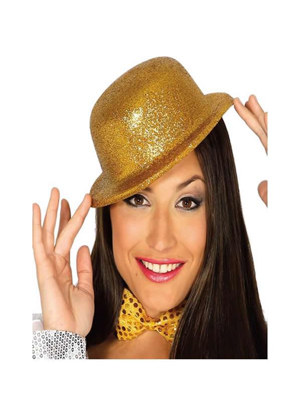 sombrero bombin escarcha oro