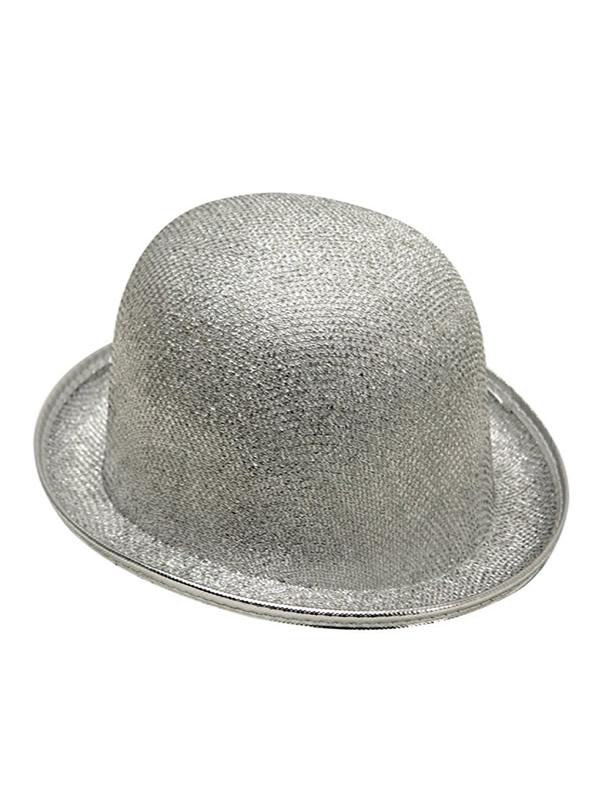 sombrero bombin plateado 58cm