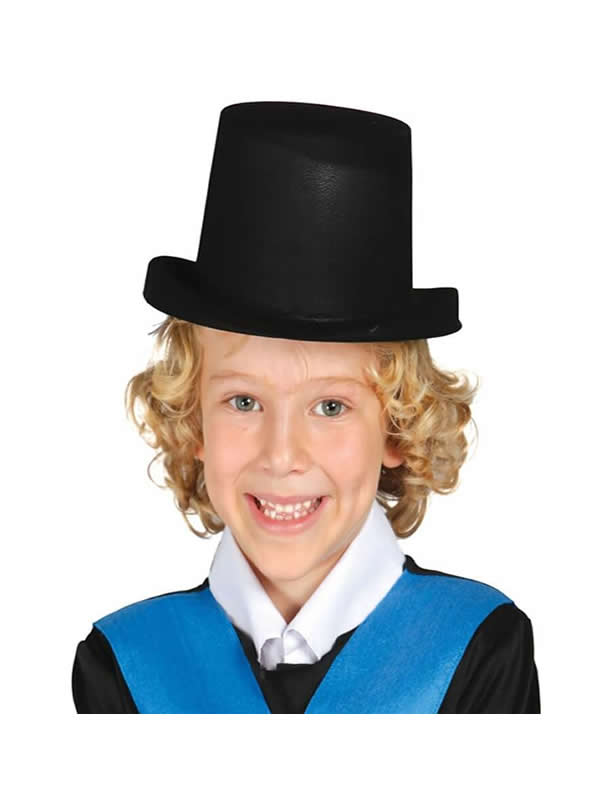 sombrero chistera flocado negro infantil