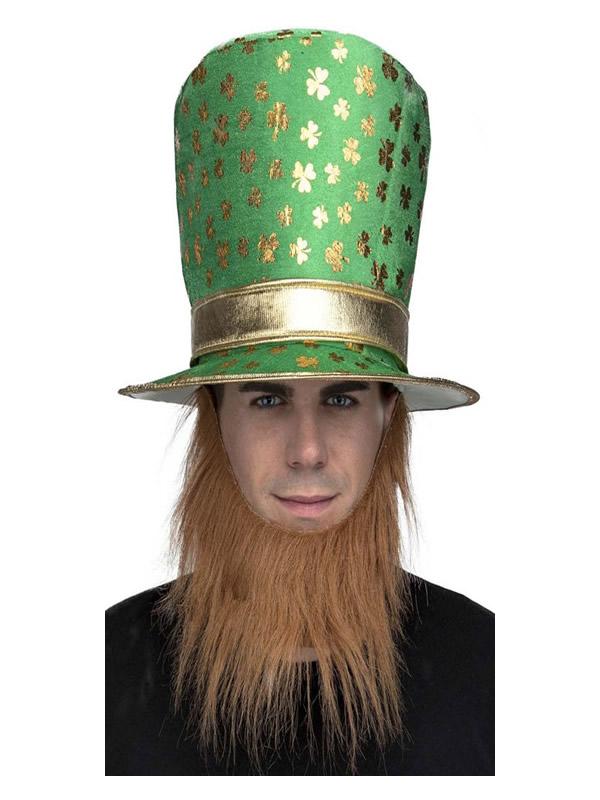 sombrero de duende irlandes con barba