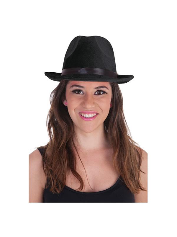 sombrero de ganster negro para adultos