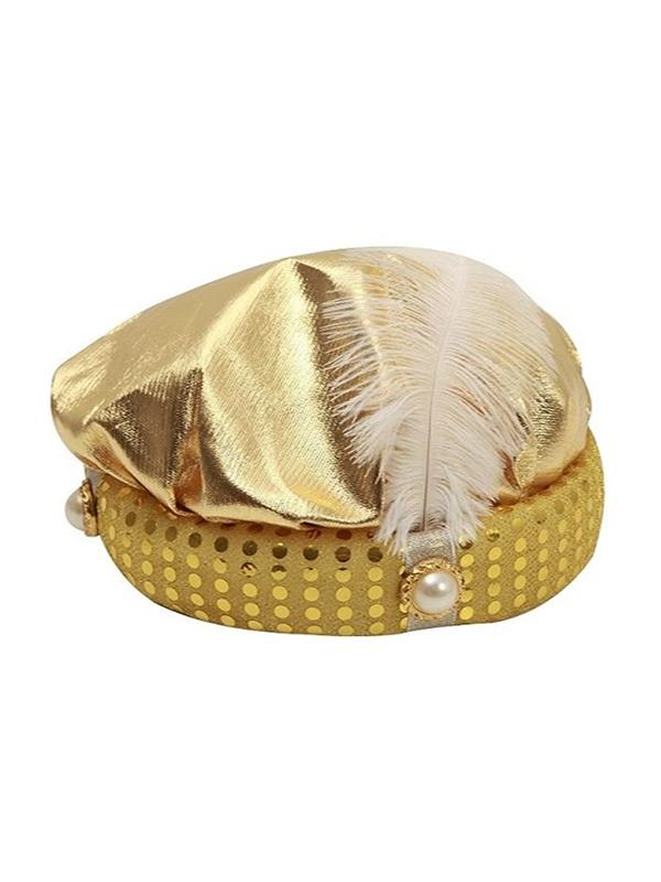 sombrero de paje dorado con pluma