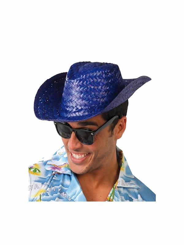 sombrero de verano paja azul