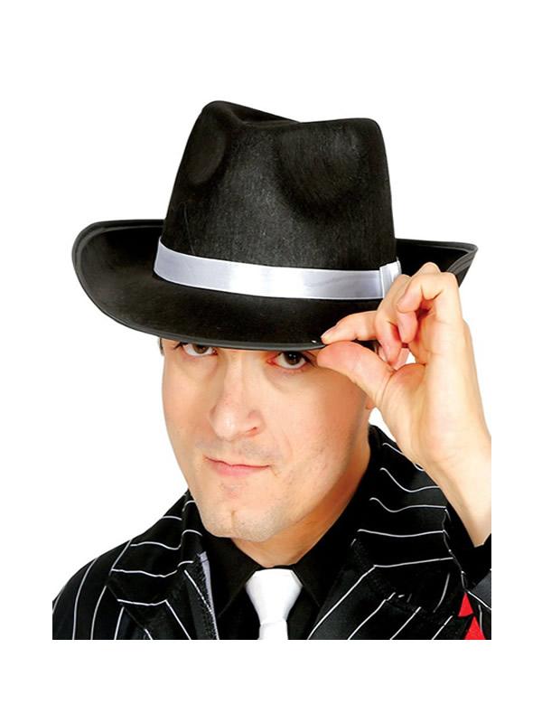 sombrero ganster negro con cinta blanca