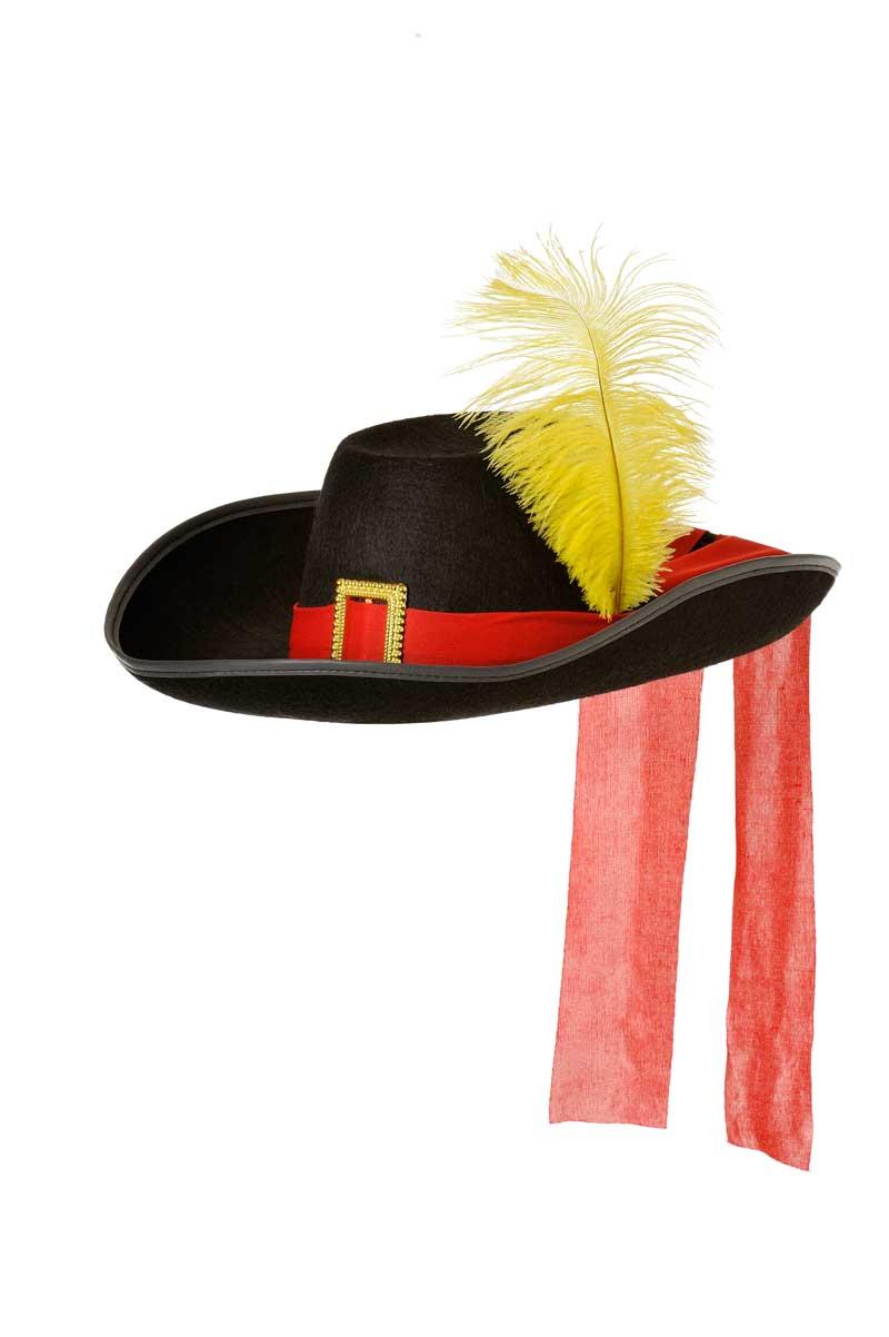 sombrero mosquetero fieltro negro