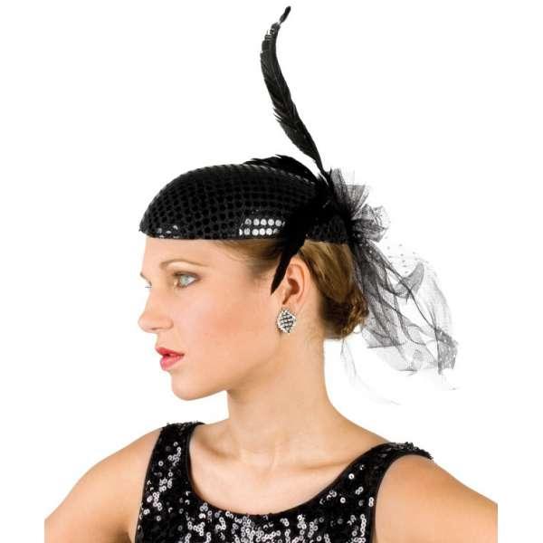 top sombrero o tocado con lentejuelas y plumas with sombreros con plumas. f6786555a5b