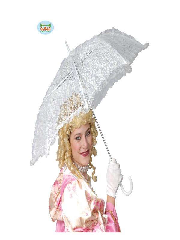 sombrilla de encaje blanco