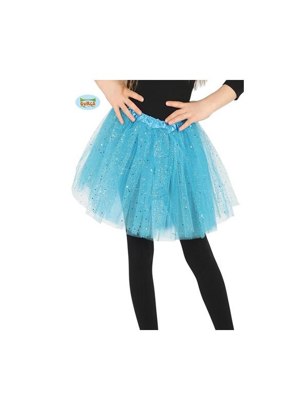tutu brillante azul 30 cms infantil