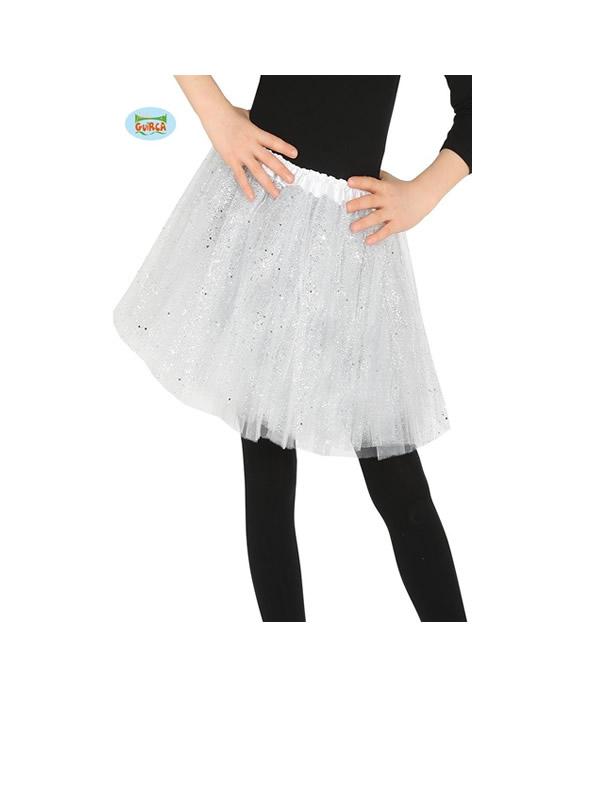 tutu brillante blanco 30 cms infantil
