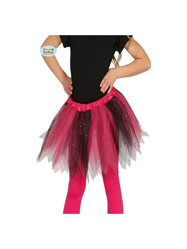 tutu infantil brillante rosa y negro 30 cms