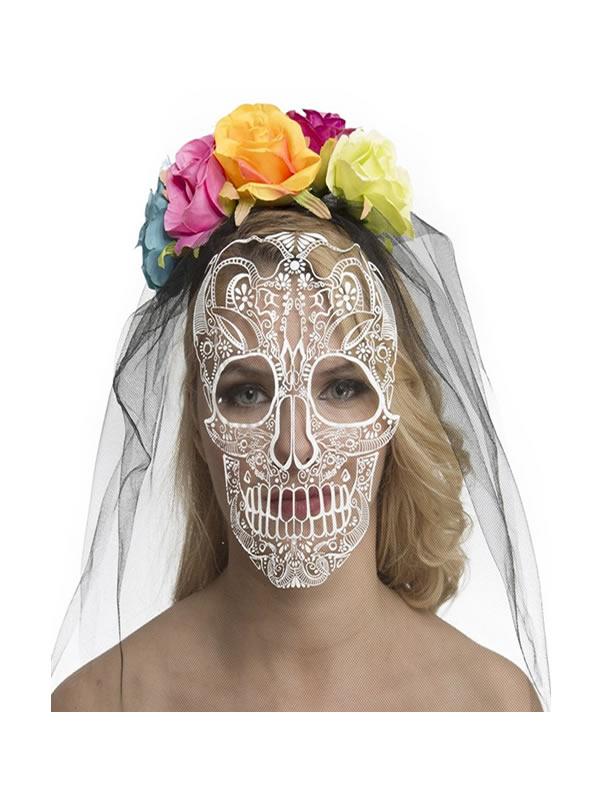 velo y careta de catrina dia de los muertos con flores