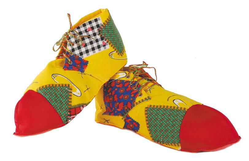 zapatos de payaso rojo y amarillos infantil