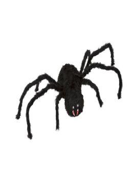 araña negra con movimiento luz y sonido 125x30 cm