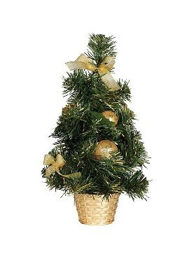 arbol de navidad decorado oro de 40 cm con maceta